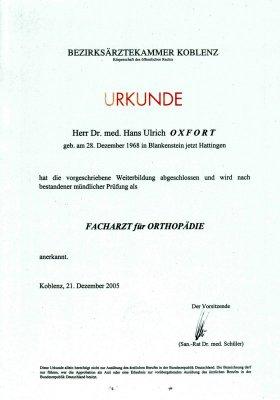 Urkunde - Facharzt für Orthopädie