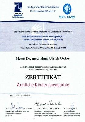 Zertifikat - Ärztliche Kinderosteopathie