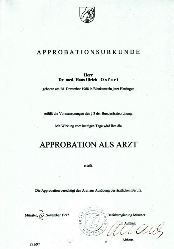 Approbationsurkunde