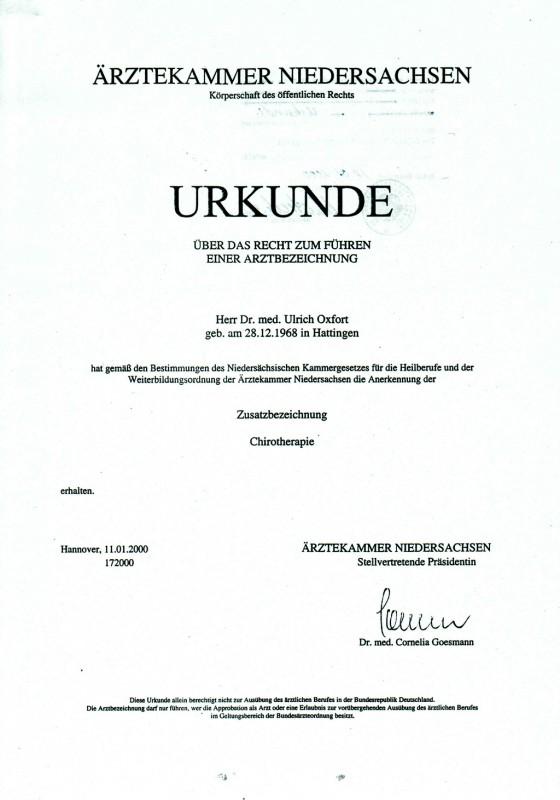 Urkunde - Arztbezeichnung