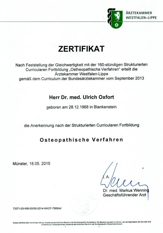 Zertifikat - Osteopathische Verfahren